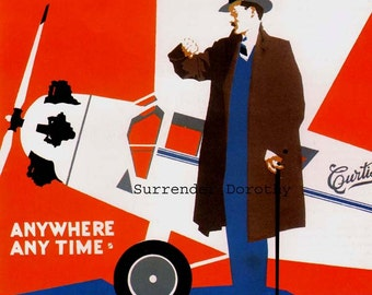 Curtiss Passenger Plane USA 1920s Aviation Poster Color Man-Cave Lithograph To Frame