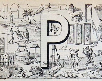 Letter P  French Dictionary Alphabet Chart Paris France To Frame