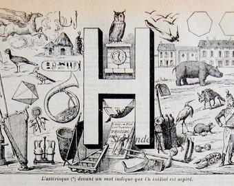Letter H French Dictionary Alphabet Chart Paris France To Frame