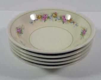 9 Fruit Dessert Bowls Homer Laughlin Eggshell Nautilus Ferndale 22k Gold Trim Vintage Mid Century China 1940s
