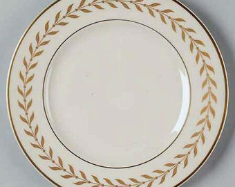Vintage Syracuse China Jefferson Salad Plate Laurel Border 24k Gold Vintage Kitchen 1940s 1950s