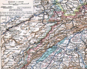 Map Schleswig-Holstein Germany Edwardian Era 1903 Antique Steel Engraving Cartography To Frame
