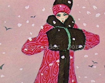 Winter Coat Paul Poiret French Belle Epoque Vintage Fashions For Women 1910s Color Lithograph Print To Frame
