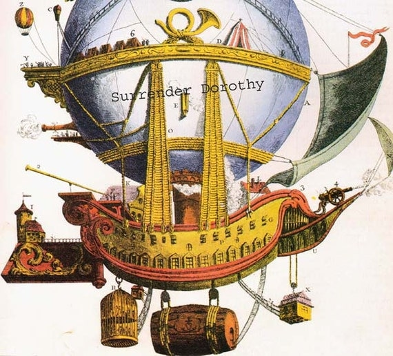 Fantasy Sailing Ship Hot Air Balloon Luft Machine 1880s Aviation Steampunk Home In The Sky Color Lithograph Poster To Frame
