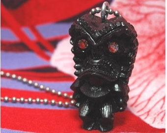 Handmade Tiki Necklace - Big Kahuna - Black Lucky Tiki With Swarovski Rhinestone Crystal Eyes - Luau Hawaiian Kitsch