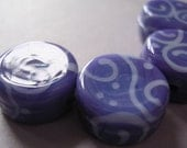CLEARANCE 20% Lampwork Glass Violet Purple Beads Handmade Ericabeads Grape Purple Tabs (4)