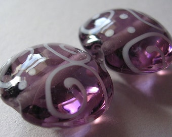 Lampwork Beads Purple Handmade Glass Amethyst Lentils (2)