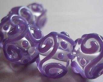 Glass Handmade Purple Lampwork Beads Ericabeads Purple Scrolled Sparklies (6)
