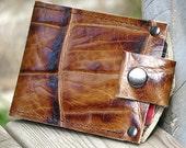 Men's Leather Wallet - Slim Jim Bifold Money Clip --- Brown Giraffe Print
