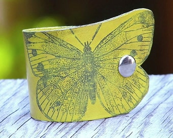 Women's Yellow Butterfly Leather Wristband Cuff