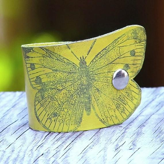 Women's Butterfly Leather Wristband Cuff - Yellow