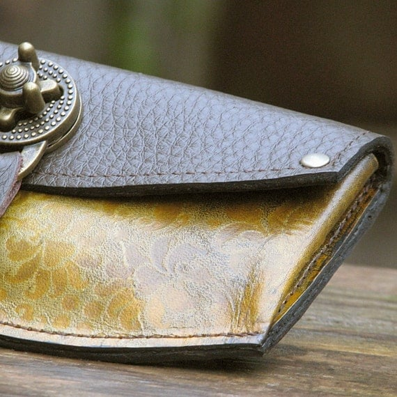 Women's Leather Wallet - Baroque Steampunk OOAK Ombre Spice with Antique Brass Hardware