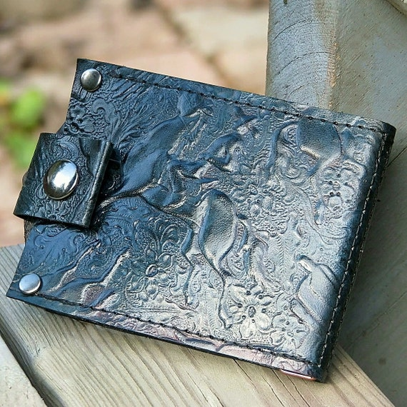 Minimalist Green Leather Money Clip Snap Wallet, Bifold, Billfold, Wild West, Cowboy Theme
