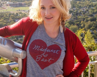 Women's Midwest is Best Tshirt in Gray and Red