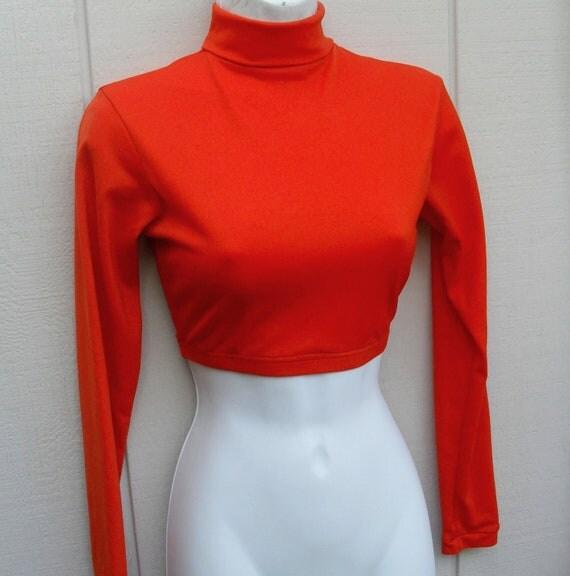 Vintage 70s Jazz Modern Dance Orange Nylon LEOTARD crop top, Bob Fosse style Beatnik top