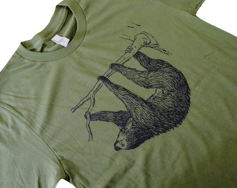 SLOTH T-Shirt - Sloth On A Tree Mens  T-Shirt - (Available in sizes S, M, L, XL)