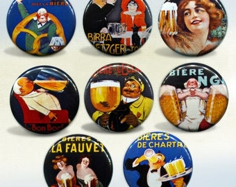 Vintage Beer Art & Advertisements set of 8 Fabulous magnets