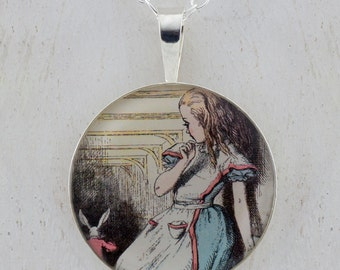 Alice watching the Rabbit run away sterling silver pendant