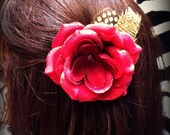 Red Rose Glitter Hair Clip w/ Yellow and Black Feathers and Skull Center