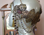 Art Nouveau Headdress Mucha Goddess Vintage Brass And Glass Raven Eve Jewelry 2012