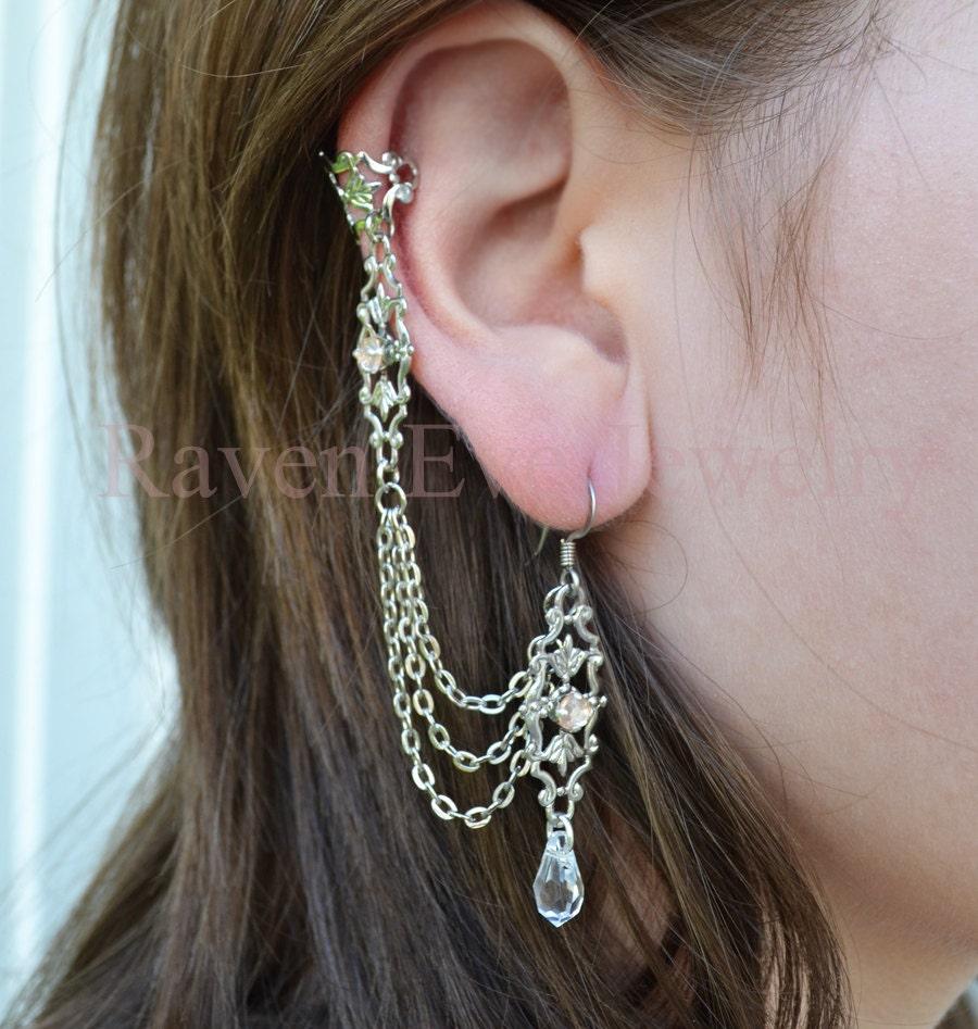 lady slipper ear cuff silver filigree austrian crystal drop. Black Bedroom Furniture Sets. Home Design Ideas