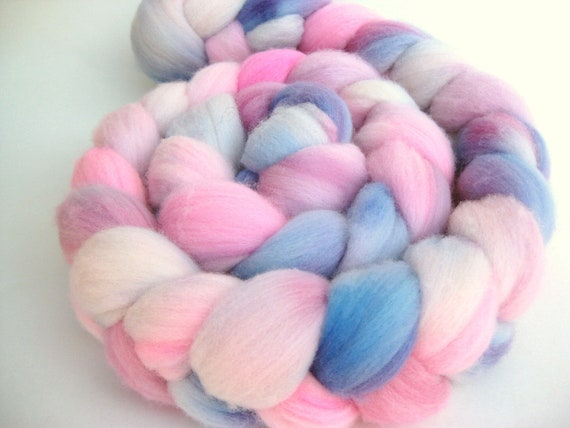 Hand Dyed Roving - Merino Wool - Hand Painted - Spinning - Felting - Dianthus - 3.8 Ounces
