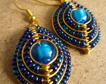 Blue Beaded Shield Earrings