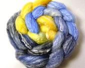 Handdyed Merino Wool / Bamboo Roving - Orlando - blue, navy, slate, gold