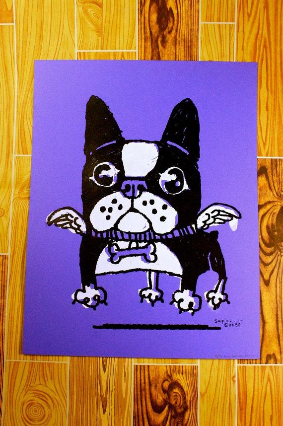 Flying Dog Boston Terrier/French Bulldog Screen Print