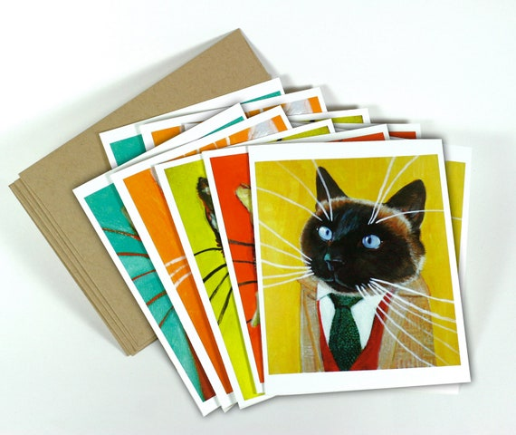 Set of 10 Highly Professional Business Cat Notecards