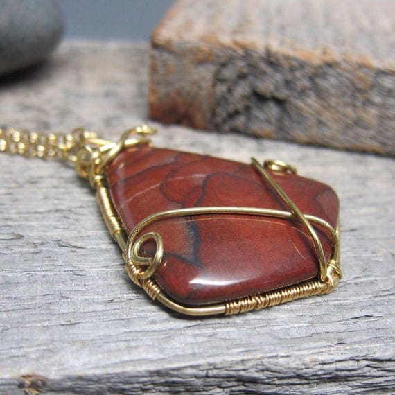 Red Autumn Necklace ... Wire Wrapped Nu Gold and Red Autumn Jasper