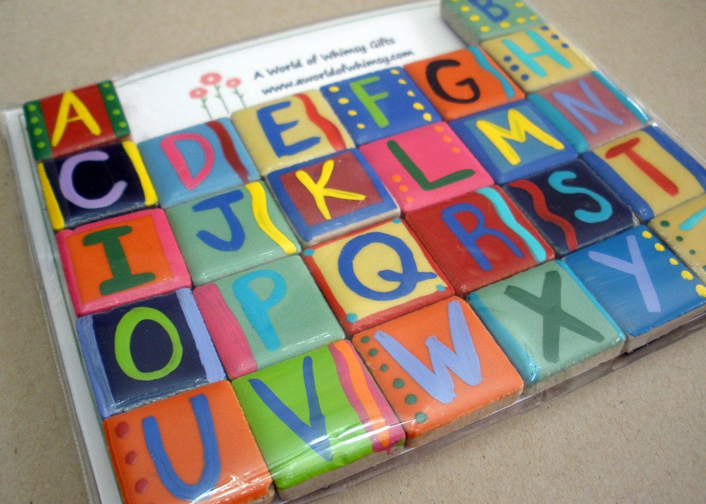 Alphabet Letter Tile Magnet Set By Aworldofwhimsygifts On Etsy