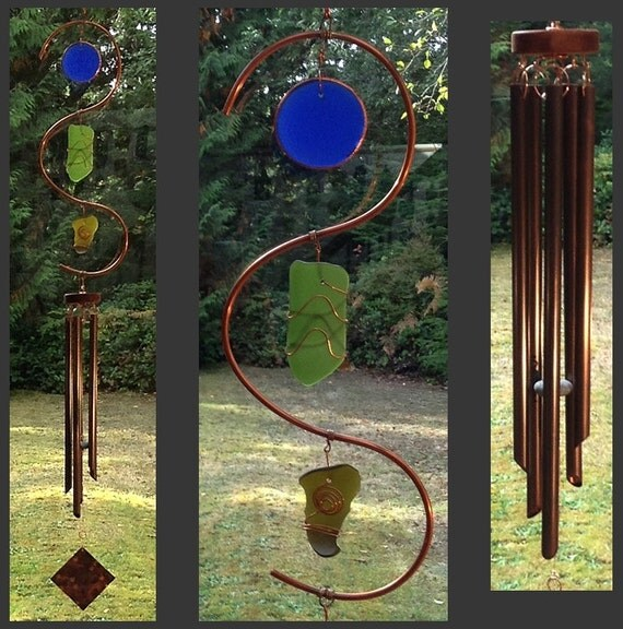 Wind Chime, Beach Glass, Stained Glass, Sea Glass, Copper, Copper, Wind Chimes, Windchime, Suncatcher