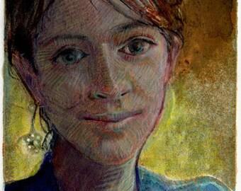 Portrait Girl Contemplative Faces Original Print Art Woman DelPesco