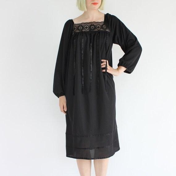 vintage 1970's MAGIC RIBBON black goth prairie dress