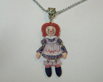 Handcrafted Plastic Jointed Raggedy Ann Charm Necklace Pendant Made in USA