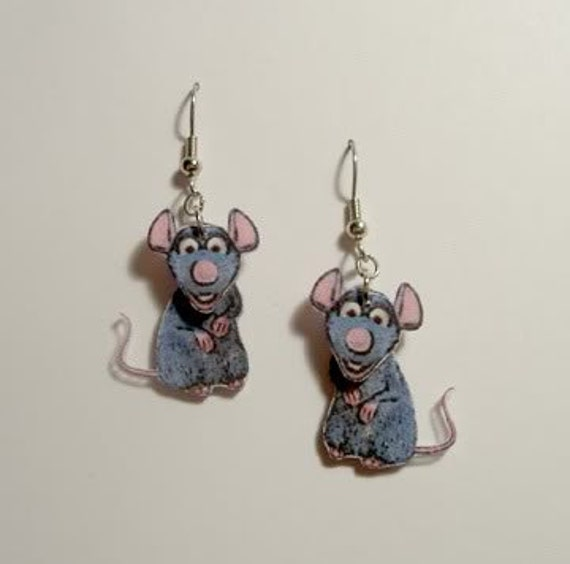 Handcrafted Plastic 2 Dimensional Rat Ratatouille Earrings Made in USA