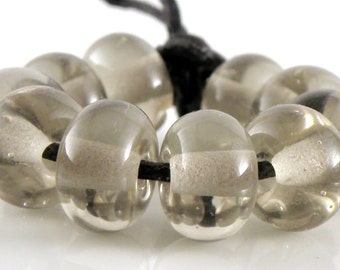 Transparent Grey Spacers - Handmade Artisan Lampwork Glass Beads - 5mmx9mm - SRA (Set of 10 Spacer Beads)
