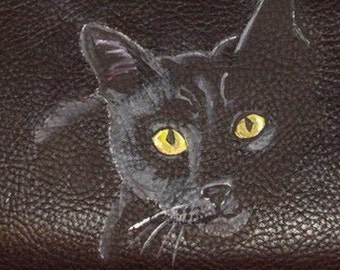Black Cat Bombay Custom Hand Painted Leather Men's Wallet