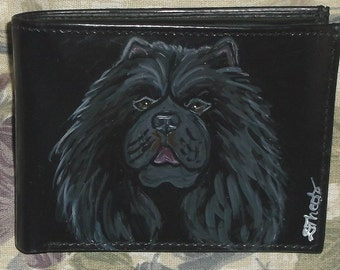 Chow Chow Dog Custom Painted Leather Mens wallet