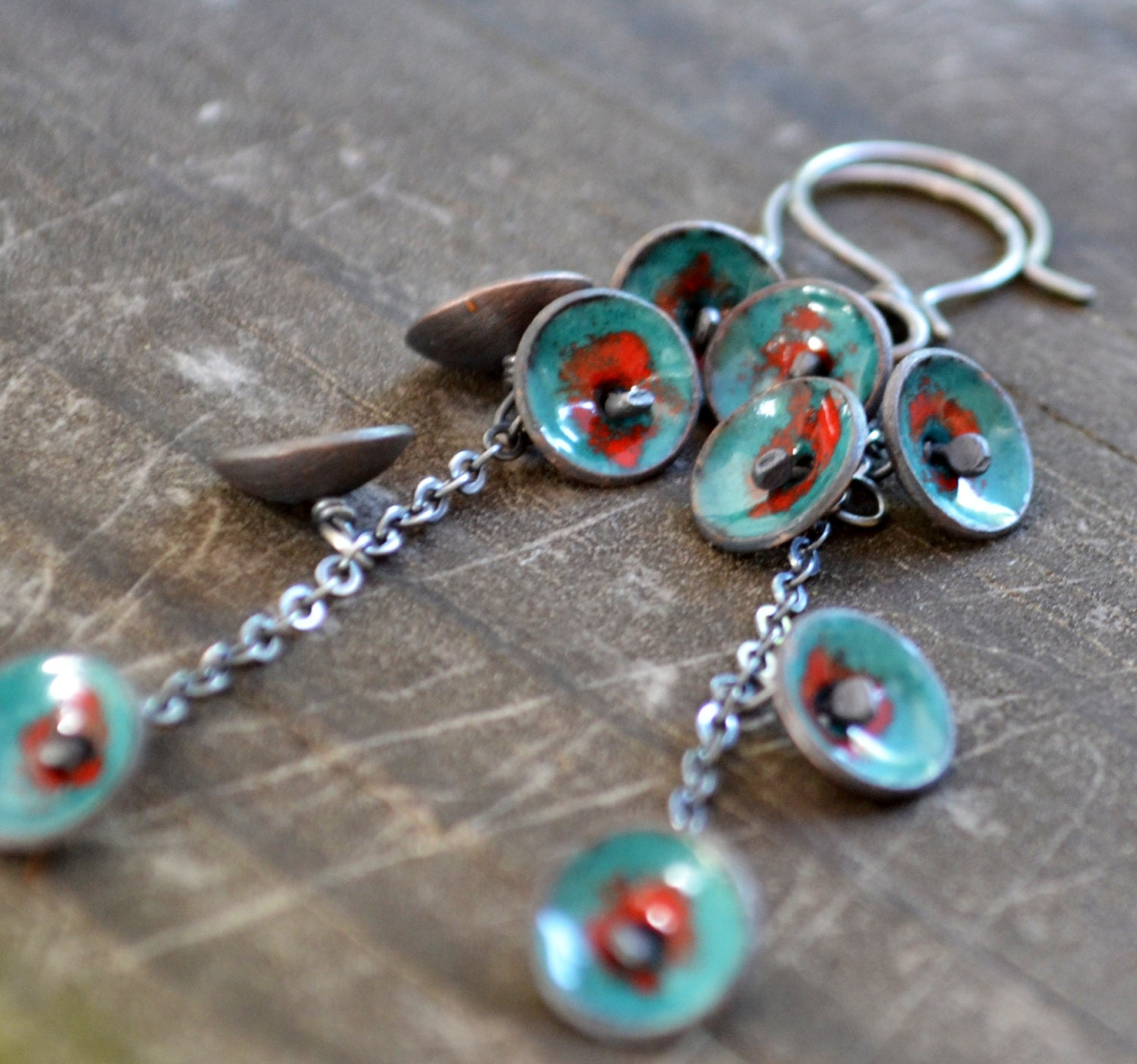 Hand Crafted Enamel House Necklace Pendant Copper Home: Bluebell Earrings Sterling Silver Copper And Enamel