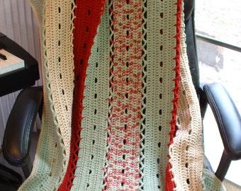 New, Hand-Crocheted EYELET STRIPS AFGHAN