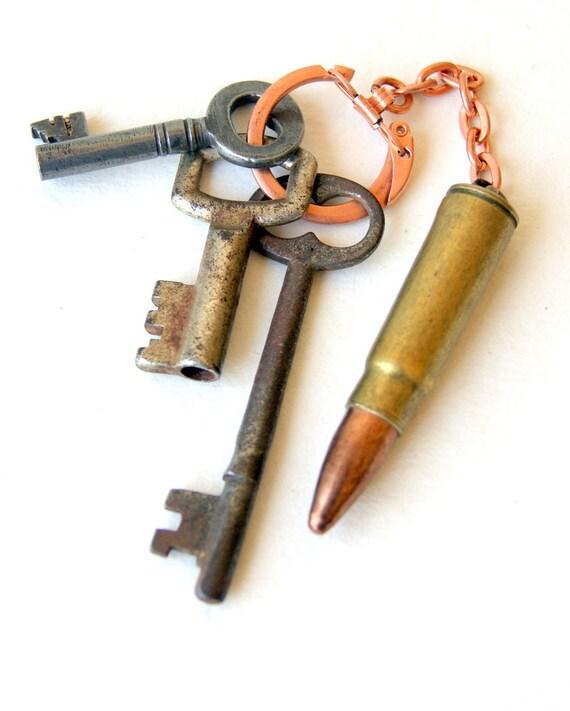 Bullet Keychain - vintage bullet - vintage copper plated steel keychain - men - unisex - gift under 25