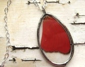 Crimson Red Butterfly Wing Necklace