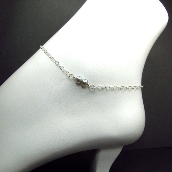 Gray Silver Anklet Sterling Silver Chain Ankle Bracelet Affordable Delicate Anklet Beachwear Freshwater Pearl Anklet
