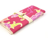 SHORT Knitting Needle Case Organizer - Gypsy Velvet Vine -  natural cotton pockets for circular, double pointed, interchangable or travel