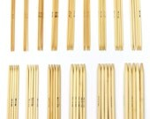 Full Set 8 inch Bamboo Double Pointed Straight Knitting Needles - Includes All US Sizes 0 1 2 3 4 5 6 7 8 9 10 10.5 11 13 15