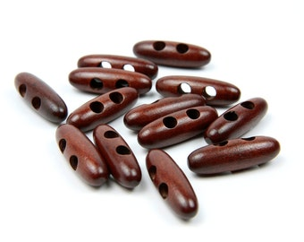 30 Dark Warm Brown Toggle Wood Buttons - Bean / Oval Shaped -  40mm 1.625 inches - 2 holes - 30 pcs