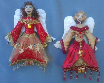 E-PATTERN, ANGELI Di Natale- Hanging Christmas Angels, Pattern, Cloth Dolls, Christmas, Tutorial, DIY, bambole, Michelle Munzone,