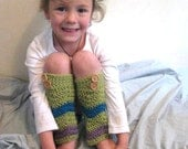 Sage Green, Turquoise and Lavender Soft 100% AUSTRALIAN WOOL Funky Flared Chevron Striped Leg/Armwarmers for Lil Girls